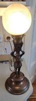 Asztali lámpa,szobros , csiszolt üveges működik!