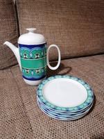 Rosenthal teás vagy kávéskanna 5 db süteményes tányérral. Ragyogó színekben és mintával