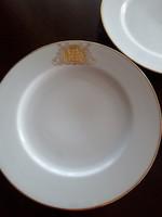 Antik dúsan aranyozott Hüttl Tivadar monogrammos tányérok 6 db