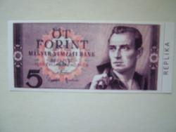 Öt forint tervezet bankjegy. Replika