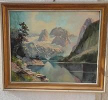 Gyönyörű Szignàlt festmény tàjkép, Alpesi,Tàtra, Erdélyi havasok,Alpok!