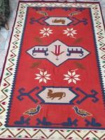 Gyönyörű antik figurális szőnyeg, tisztítva azonnal használható különleges Torontàli àllatok viràgok