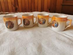 Zsolnay lüsztermázas zsáner jelenetes kávés csésze