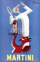 Vintage martini likőr alkohol szeszes ital reklám plakát reprint nyomat angyal ördög tálca pohár