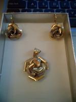 14K bicolor gold set