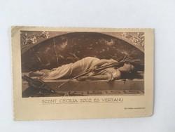 Hibátlan, antik postatiszta képeslap, levelezőlap, Szent Cecília szűz és vértanú