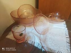 Jénai üveg étkészlet, tálaló, rózsaszin 49 db os