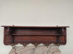 Antik ónémet réz akasztós faragott keményfa falra szerelhető ruha fogas