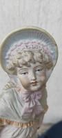 Antik, biszkvit porcelán, szép arcú baba,vitrin porcelán gyüjteménybe, dekorációnak.