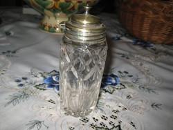 Angol fűszertartó , csiszolt üveg , fém szerelékkel  5 x12,5 cm