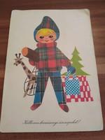 Karácsonyi képeslap - Gábor Éva rajza 1974