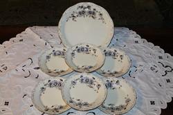Zsolnay búzavirág mintás tésztás- süteményes készlet