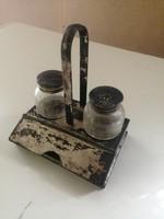 Antik ezüstözött só-bors tartó