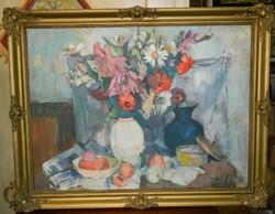 Séday Éva (1929 - 2011) Képcsarnokos Csendélet korai időszakából olaj-vászon 80*60 cm