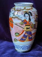 Antik japán kézzel festett satsuma pocelán váza