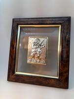Izraeli ezüst falra akasztható fali dísz, kép 17 x 19,5 cm.