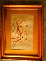 -Antik  tűgobelin-lóportré ( apró kézi gobelin) kép keretezett 48 cm X 36 cm