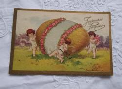 Antik, olasz, aranyozott grafikus üdvözlőlap/művészlap Húsvét, tojás, kislányok/angyalkák 1920 körül