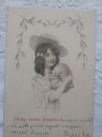 Szecessziós, kézzel színezett grafikus üdvözlőlap Húsvét, kislány kalapban tojás 1909