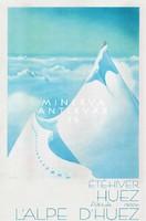 Vintage art deco utazási reklám plakát reprint nyomat Francia Alpok tájkép havas hegycsúcs felhők hó