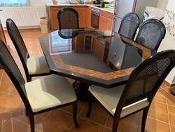Olasz Étkező asztal 6 db Thonet székkel