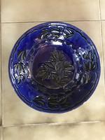 Kék fekete kerámia fali tányér dísz tál mélytányér jelzett falidísz