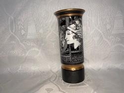 Hollóházi Száz Endre aranyozott, pillangós váza, 20 cm.