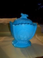 Antique chalcedony glass sugar bowl