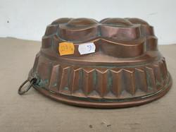Antik konyhai eszköz patinás ónozott vörösréz cukrász nagy kuglóf forma 4153