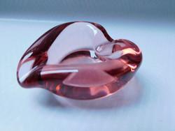 Designer vastag üveg hamutál - szív alakú