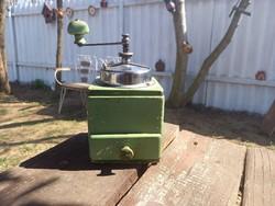 Retro fiókos zöld vintage stílusú fa kávédaráló