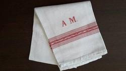 Régi törölköző népi hímzett A. M. monogramos vászon szőttes