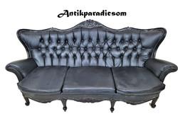 A289 Barokk fekete színű műbőr kanapé