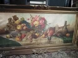 Gyümölcs, virág, fácán csendélet festmény