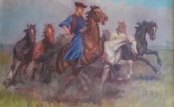 Kolozsváry Kamillo - Vágtázó lovak -- olaj, vászon 60x80