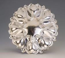 Ezüst art deco asztalközép szív alakú mintával
