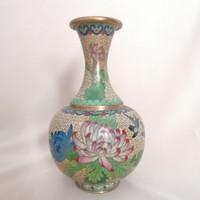Gyönyörű távolkeleti virágdekoros zománc váza