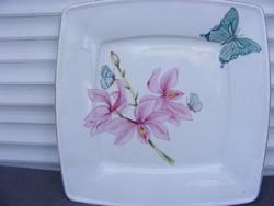 Porcelán kínáló tál kézifestett egyedi dekor jelzett nagy méret