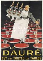Vintage likőr reklám plakát reprint nyomat pincér frakkban étterem bár asztalok tálca üveg poharak