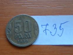 JUGOSZLÁV KIRÁLYSÁG 50 PARA 1938 1934~1945 II. Péter király #735