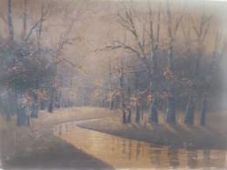 MARKOVICH: Erdei patak (olajfestmény 64,5x90) tájkép, fák, idilli természet, 1900-as évek eleje