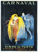 Vintage karnevál plakát reprint nyomat Cappiello álarcos bál bor hirdetés köpeny maszk Portugália