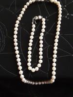 Igazgyöngy szett, 1 soros, tenyésztett gyöngy, 925ös ezüst, jelzett csattal, lánc 40cm, karlánc 18cm