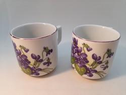 Zsolnay, ibolya mintás, kis méretű csészék 2 db