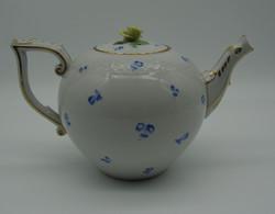 V3 Ó Herendi 1930-as évekbeli kék virágos rózsafogós teáskanna - apró szirommegpattanásokkal
