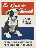 Vintage állatvédő aktivista plakát reprint nyomat kölyök kutya fekete-fehér foltos bulldog