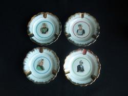 4 db nagyon szép porcelán hamutartó-hamutál: Holland népviseletes nők
