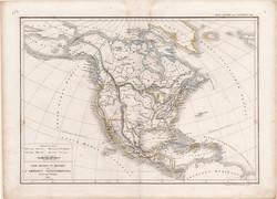 Észak - Amerika térkép 1845, francia, atlasz, eredeti, 32 x 45 cm, Dussieux, politikai, XIX. század