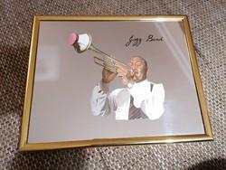 Falra akasztható tükör jazz trombitással, hibátlan állapotban