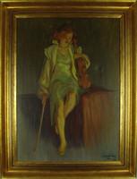 V27 Incze Ferenc (1910-1988) festménye 1954-ből - Hegedűs lány